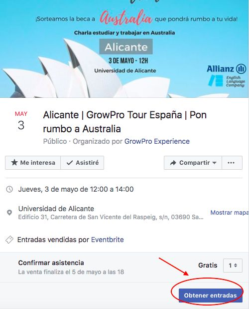 GrowPro Tour Alicante - Inscripción evento en Facebook