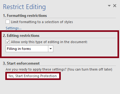 Panel restrict form editing