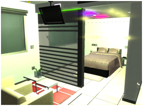 Virtual view of the living room and bedroom of metalTIC
