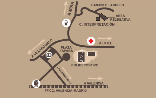 Map of Camporrobles with route to Park