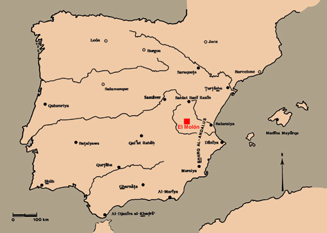 map of the Iberian Peninsula in early medieval times (after Bazzana)
