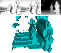 Reconstruction of scenes and integration of visual information 3D in a system of reality increased