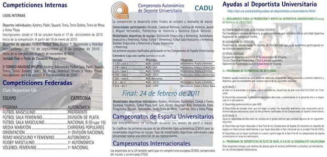 Reverso Of the brochure of competitions and support to the university sportsman, of elite and high level