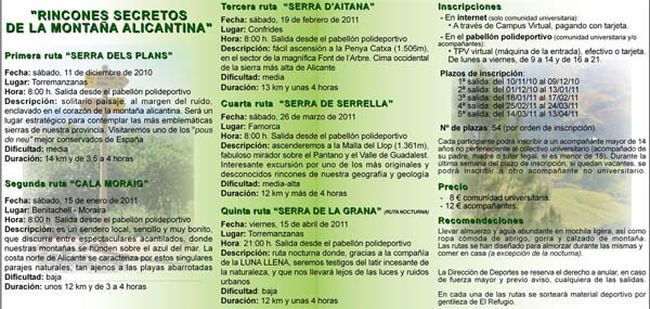 Reverso Of brochure of Activities in the Nature