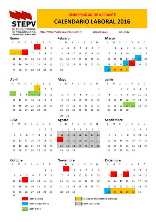 Calendario Laboral Ua.Calendario Laboral Section Trade Union Stepv Iv Of The
