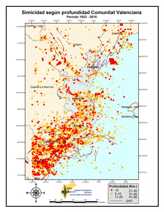 Seismicity according to depth Valencian Community