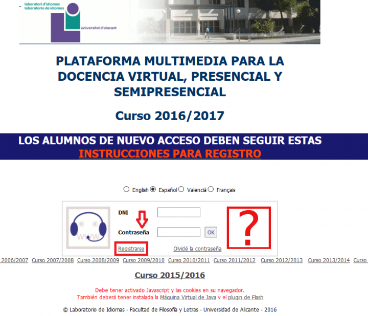 Registro en Plataforma Multimedia