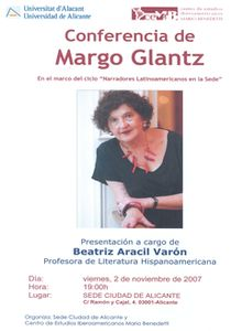 Cartel de la conferencia de Margo Glantz