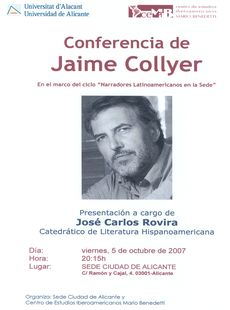 Cartel de la conferencia de Jaime Collyer