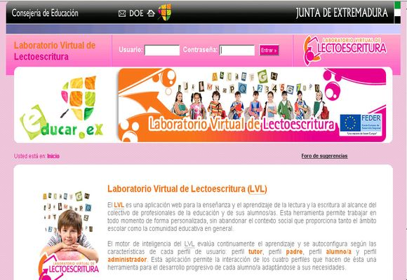Web de Laboratori Virtual de lectoescritura